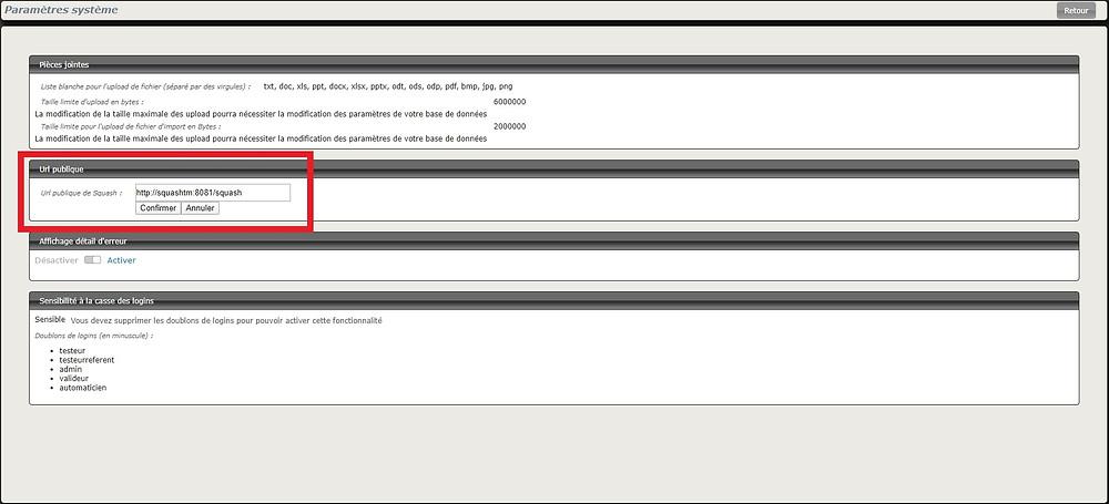 L'URL publique de Squash peut désomais être paramétrée depuis l'espace Administration de votre instance