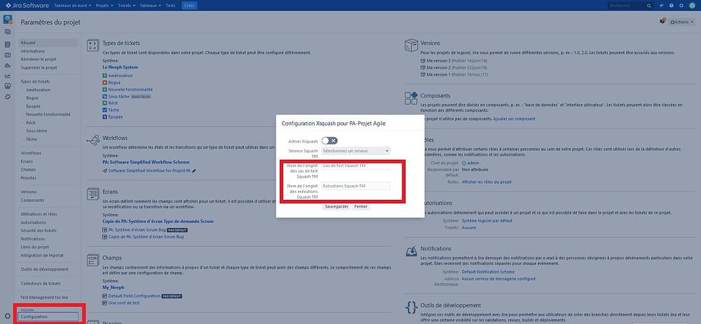 Personnalisation du nom de l'onglet Cas de test et Exécutions de Squash TM dans la configuration Xsquash dans Jira