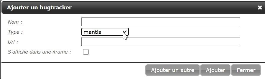 Après avoir installé un plugin qui connecte Squash à votre bugtracker, une pop up vous permet de paramétrer un bugtracker