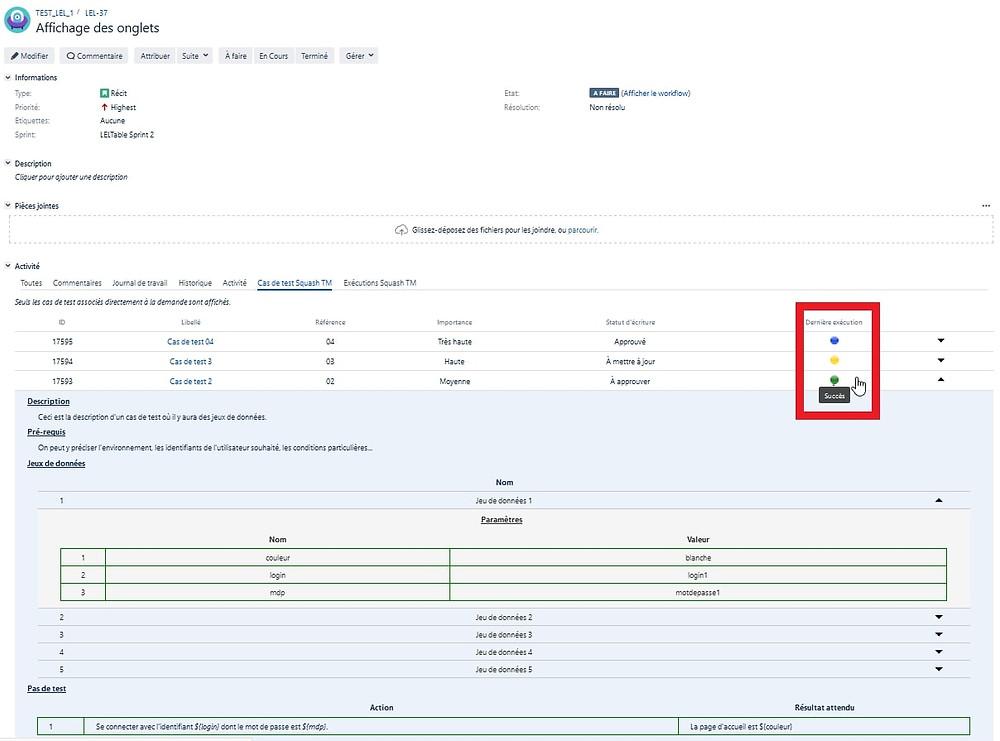 Grâce à Xsquash, le statut de l'exécution des cas de test Squash TM est mis à jour dans Jira avec des pastilles colorées