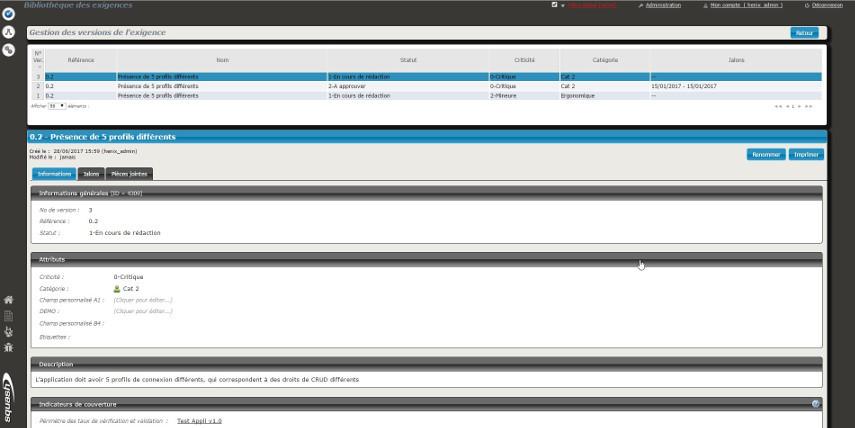 Dans Squash, il est possible d'accéder à une page permettant de gérer les versions d'une exigence