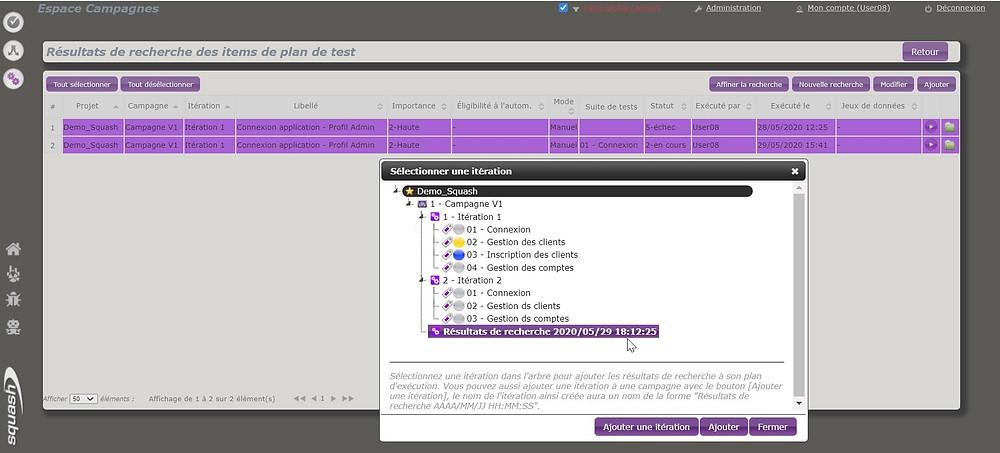 Dans Squash, on peut créer une nouvelle itération à partir de la recherche d'items de plan de test de l'espace Campagnes