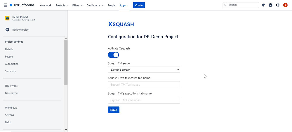 The configuration of Xsquash Cloud can be done individually at the scale of a Jira project from its settings page