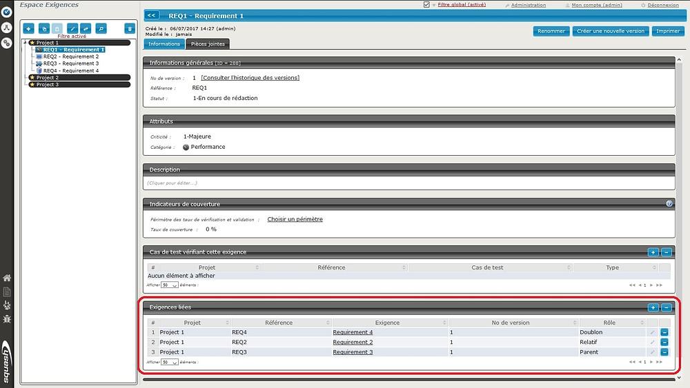 Squash est un outil de gestion de test permettant de lier des exigences entre elles et de personnaliser ce lien