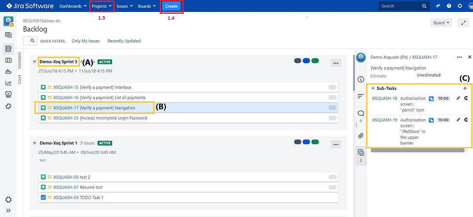 How to create a backlog, user stories and a sprint  in Jira that will be synchronized in Squash Test Management