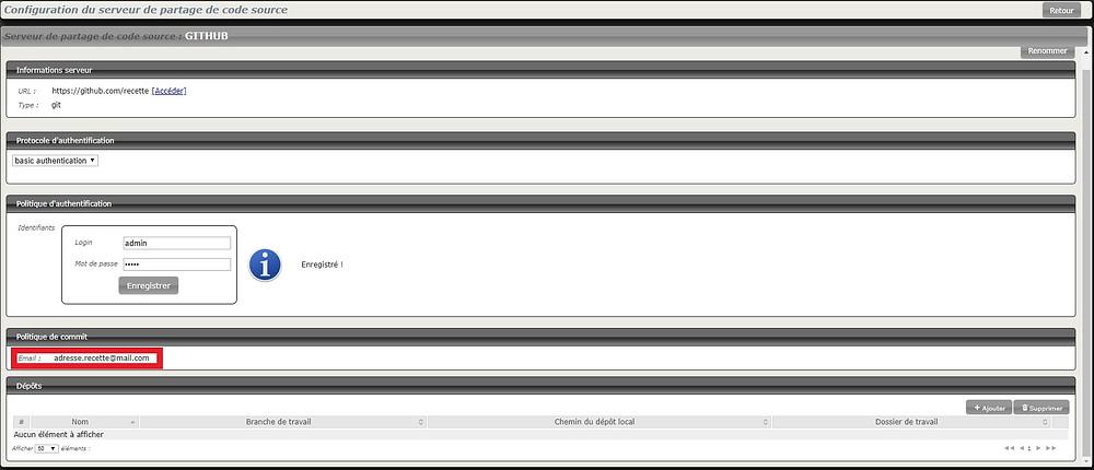 Squash 1.21 permet de rentrer l'adresse mail du commiter dans la configuration du serveur de partage de code source
