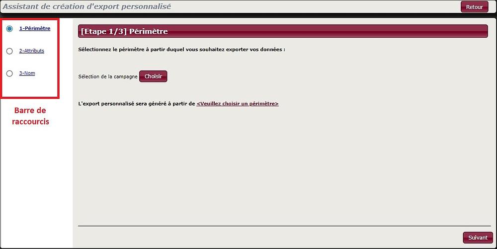 Dans le nouvel assistant de création d'export personnalisé, Squash vous laisse définir le périmètre de données à exporter