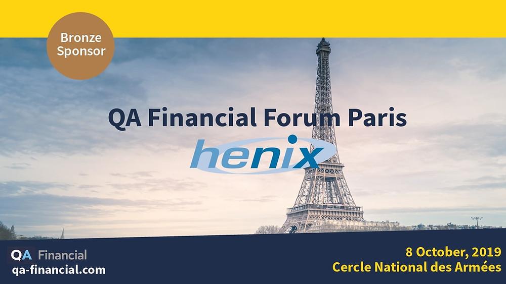 Henix, sponsor Bronze de la 1ère édition du QA Financial Forum à Paris, présentera Squash sur son stand le 8 octobre
