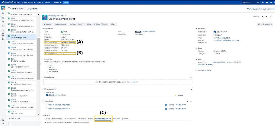 Dans Jira, product owner, scrum master et développeurs suivent la recette de test Squash avec des outils de monitoring