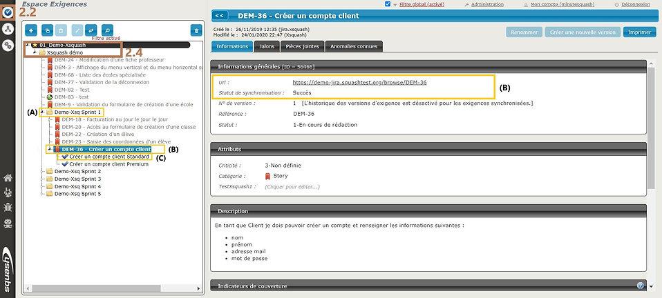 Le testeur base sa recette dans Squash TM sur les user stories et sprints synchronisés en exigences et dossiers d'exigences