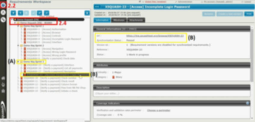 The tester bases his work in Squash TM on user stories and synchronized sprints in requirements and requirement files