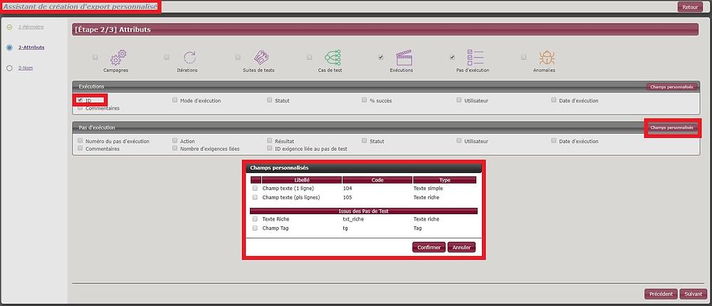 L'assistant de création d'export personnalisé permet d'exporter l'ID d'une exécution et les champs personnalisés des tests