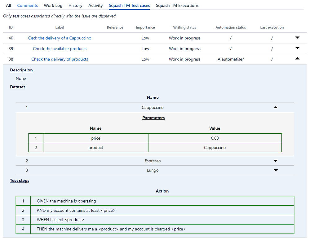 Thanks to Xsquash, find the display of test cases in BDD format in Jira