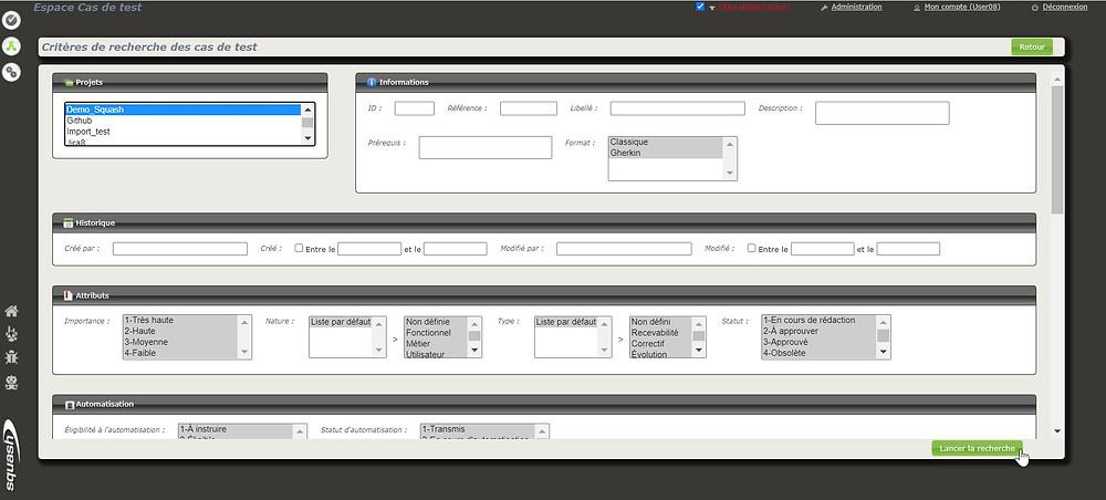 La page de critères de recherche des cas de test permet de filtrer les résultats par projet, attribut, historique...