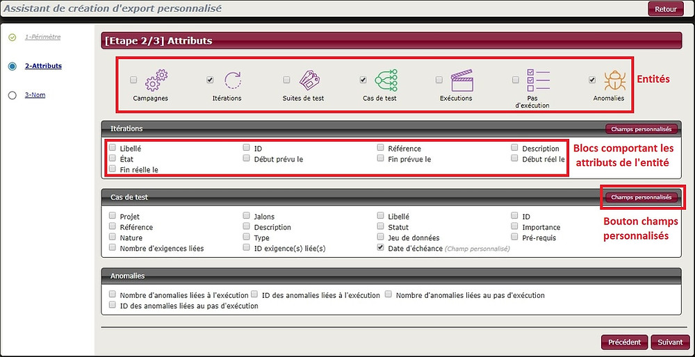 Sélectionnez les attributs des itérations, cas de test, anomalies que vous souhaitez exporter depuis Squash 1.20