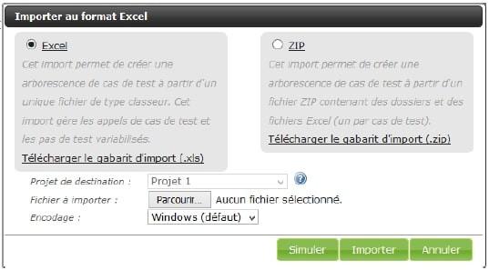 Une fenêtre pop up vous permet de choisir le format d'import de vos cas de test : fichier Excel ou zip