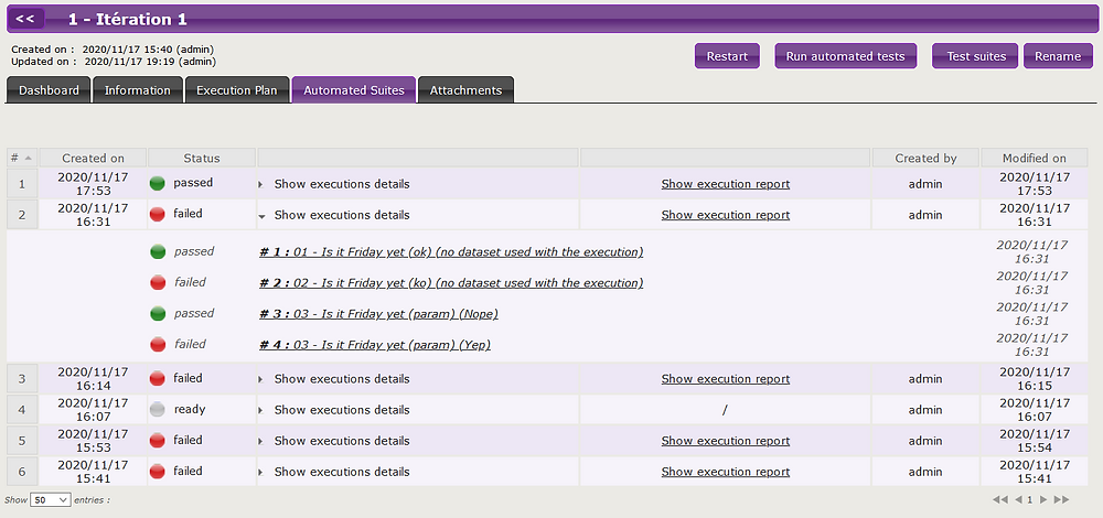 An automated suite execution history is now included at the Squash iteration level.