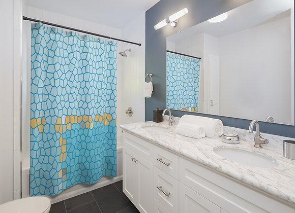 Blue Geometric Shower Curtains