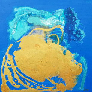 Starting with a brilliant blue background, I layered variations of blue and turquoise on top of one another to build a deep field upon which to place the iridescent full turquoise colour.  Where turquoise is layered underneath the gold field, a head-like figure emerges at the top of the image. The figurative head is facing west, and looking toward the direction that the sun is emerging from.