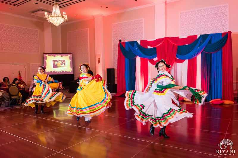 Three Senorita Folklorico Dancers Entertaining Guests - DILSHAN Weddings and Events