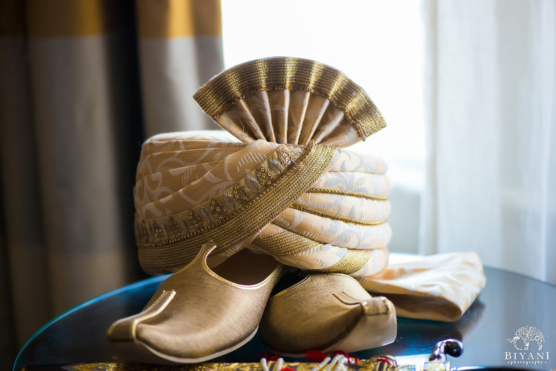 Picture of the Groom's Gold Turban and Shoes - DILSHAN Weddings and Events