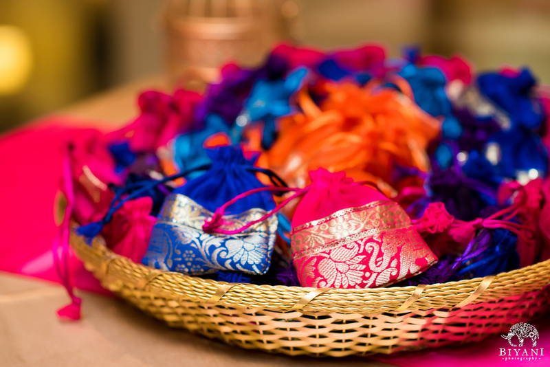 Basket of favor bags made of spree materials - Indian Wedding Planner San Antonio