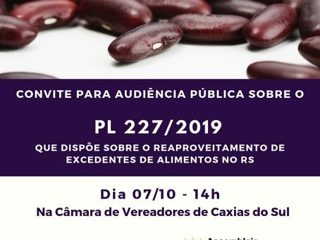 PL 227/2019 é tema de Audiência Pública em Caxias do Sul