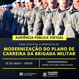 Audiência pública sobre plano de carreira dos brigadianos será realizada no dia 10 de maio