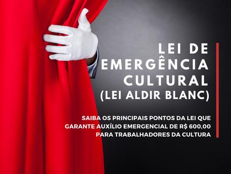 Lei Aldir Blanc garante auxílio emergencial R$ 600,00 para os trabalhadores da cultura
