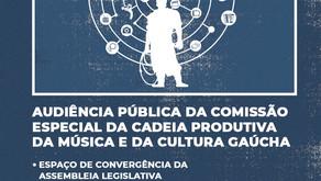 Assembleia realizará Audiência Pública sobre a cadeia produtiva da música e da cultura gaúcha