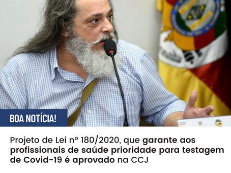 PL que garante aos profissionais de saúde prioridade para testagem de Covid-19 é aprovado na CCJ