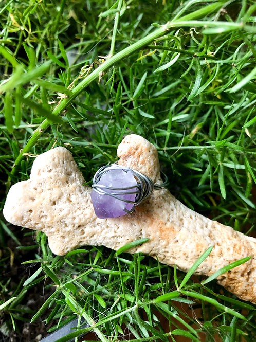 amethyst chunk ring