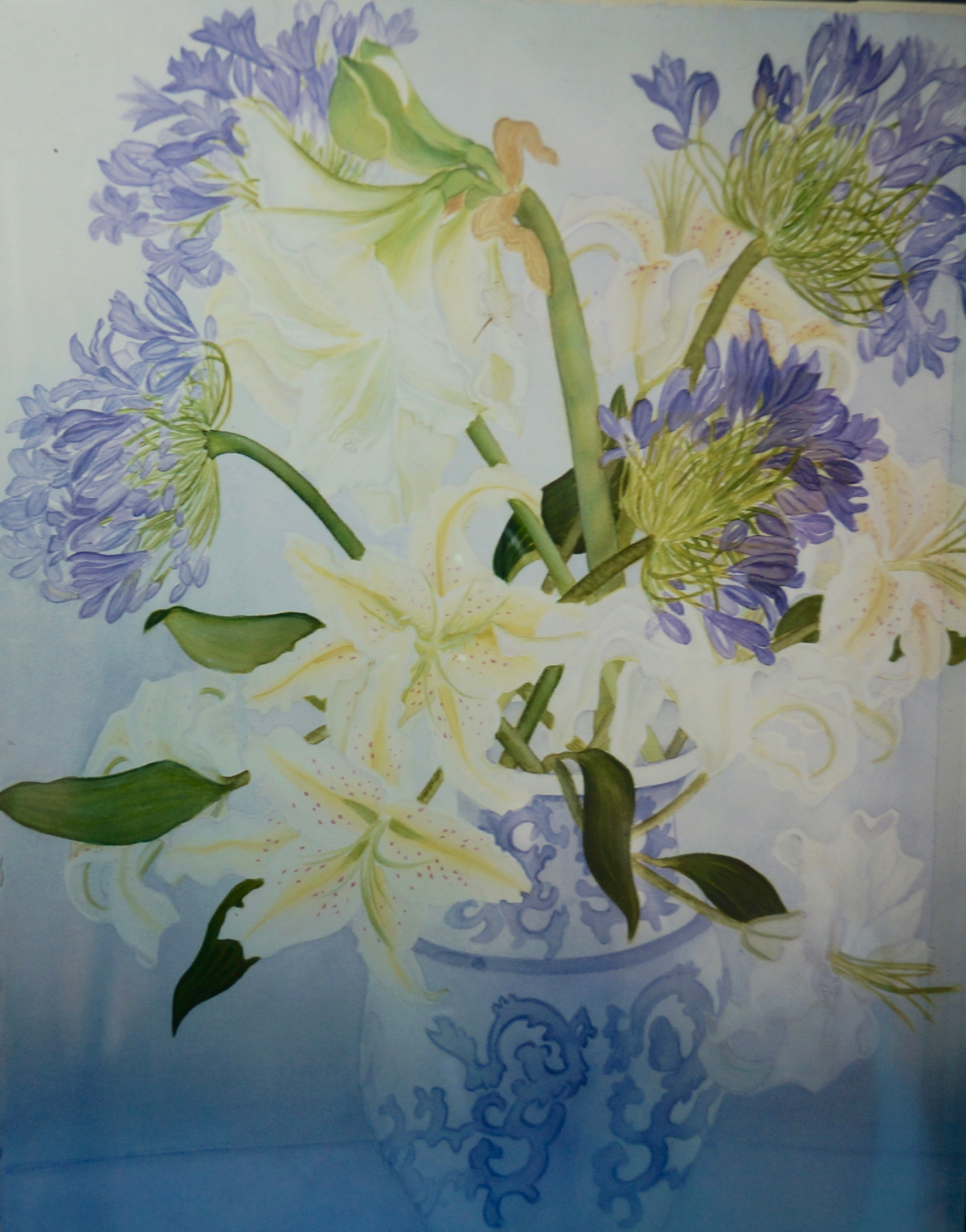 Blue Lilies of the Nile/White Lilies