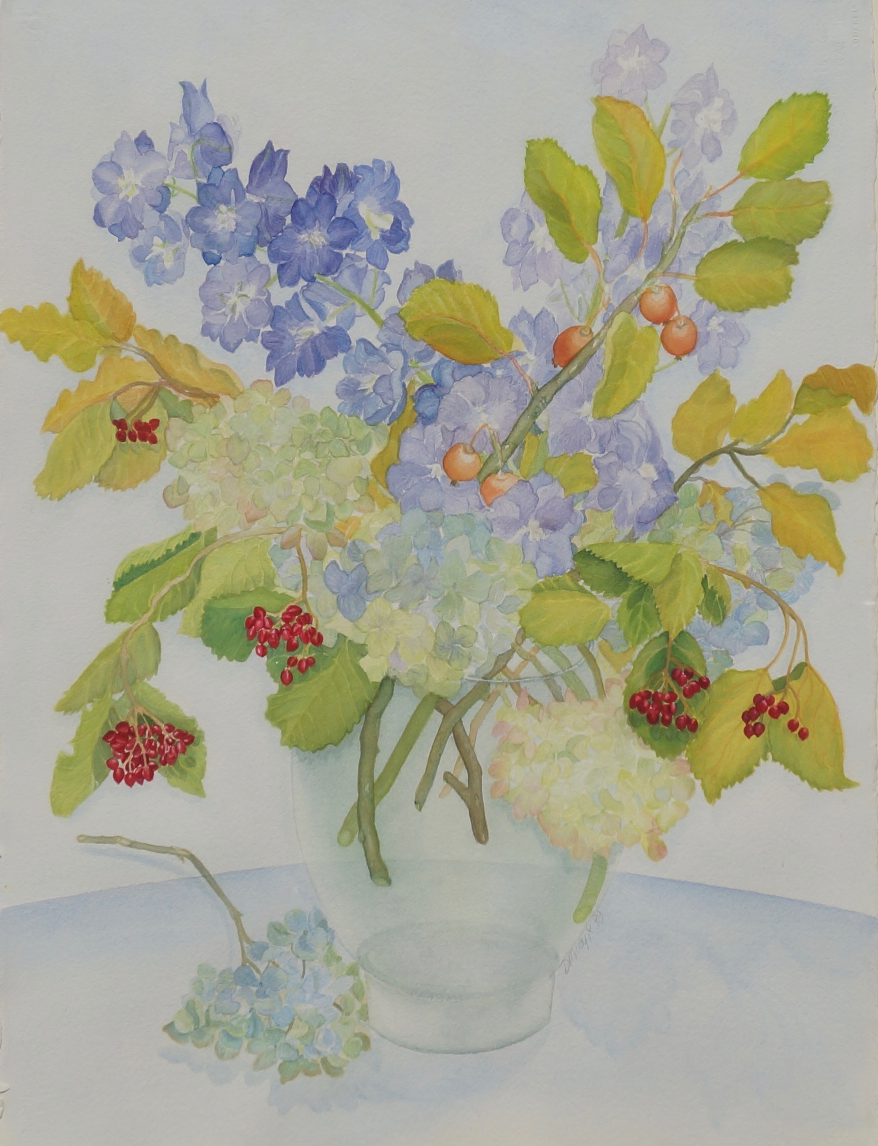 Delphiniums and Viburnum