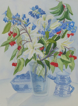 White Lilies and Red Berries