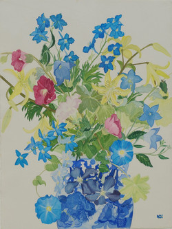Morning Glories and Larkspur