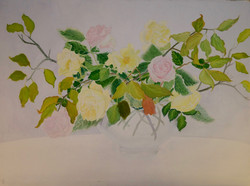 Yellow and Pink Roses in Glass Vase