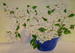 Dogwood Branches in Blue Vase