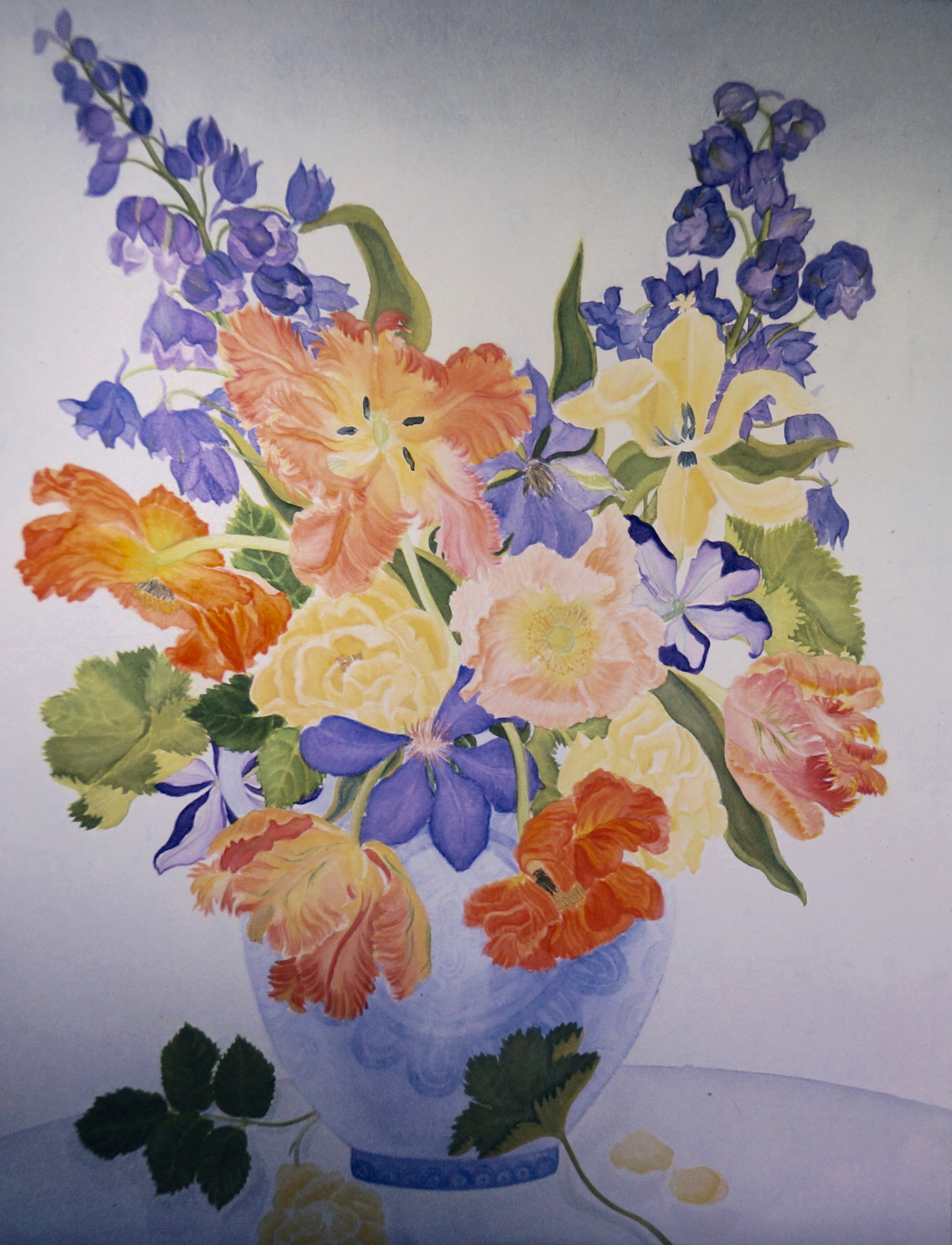 Orange Parrots, Delphinium