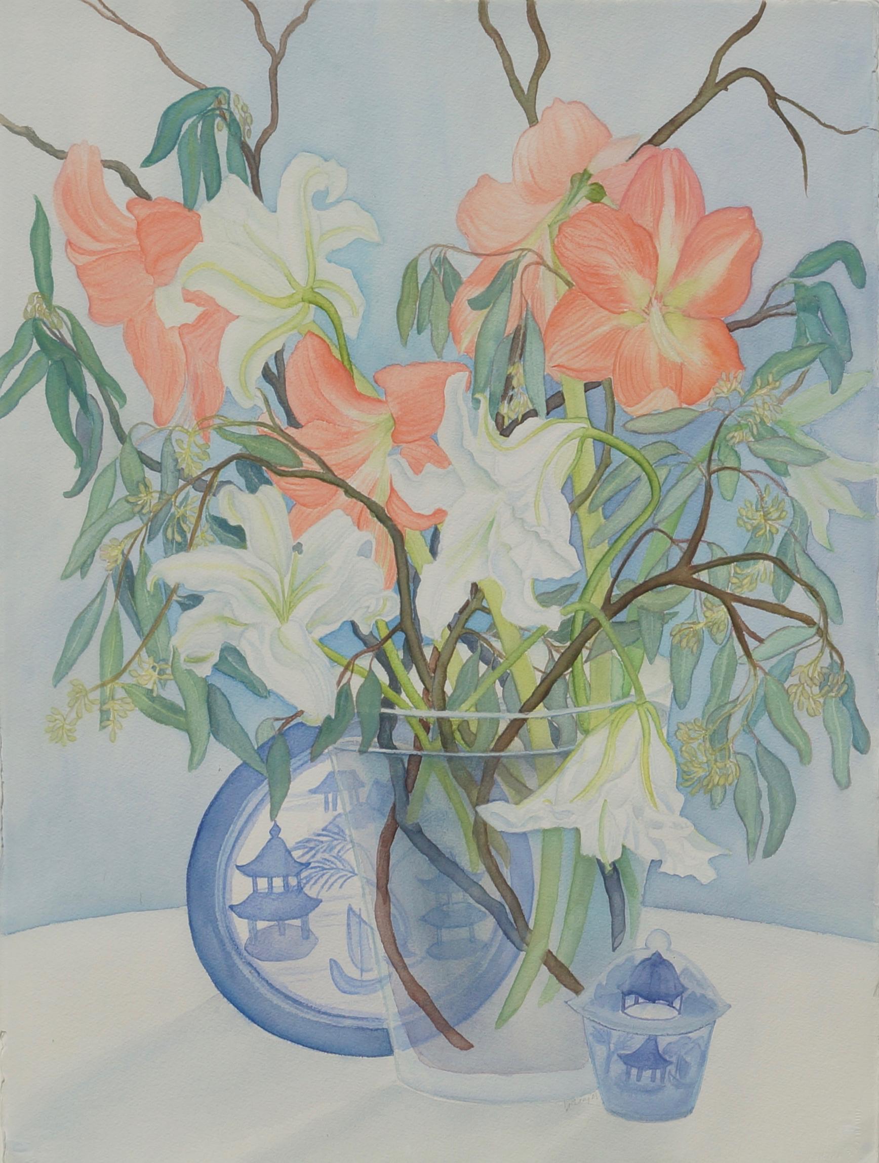 White Lilies and Peach Amaryllis