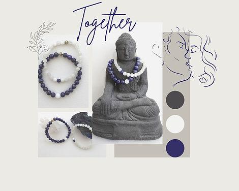 Partner armbanden Together met Lapis Lazuli en Maansteen