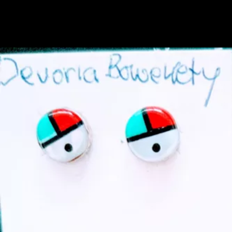 Sunface silver stud earrings (Zuni)
