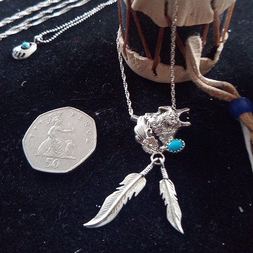 Wolf & 2 feathers silver necklace  with sleeping beauty turquoise