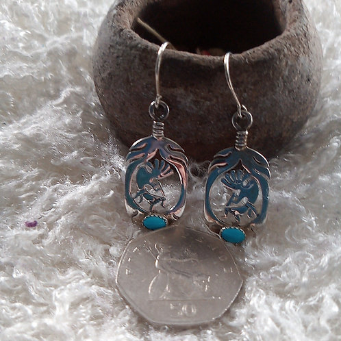 """Kokopelli earrings: TURQUOISE & silver ~ELIGIBLE for """"share the love """" BUY1 get1"""