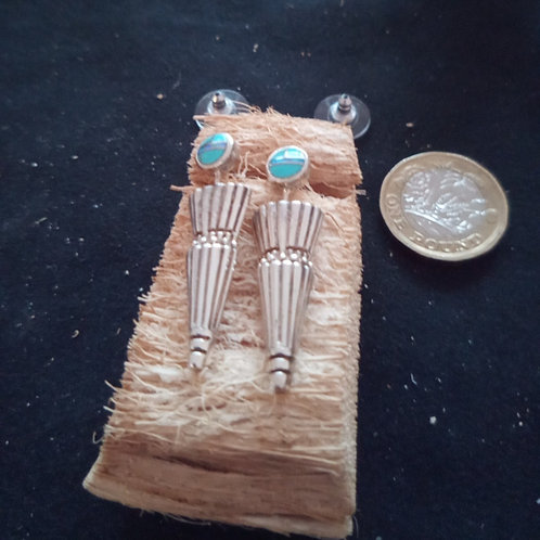 Contemporary turquoise & silver earrings: feather dedign