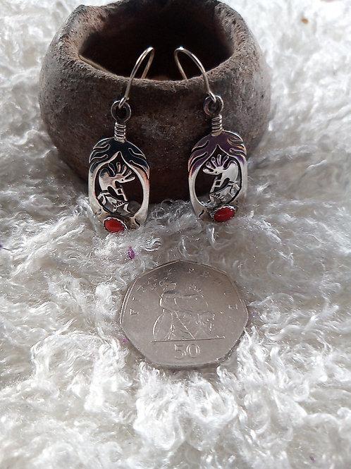 Kokopelli earrings CORAL & silver
