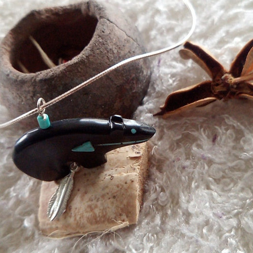 """14"""" silver necklace and Bear pendant, jet & turquoise with 2 feathers"""
