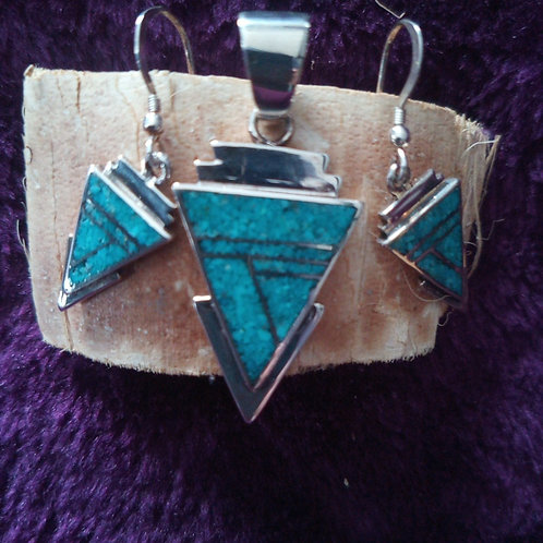 """Earrings/pendant set with turquoise inlay ELIGIBLE for """"share the love"""" discount"""