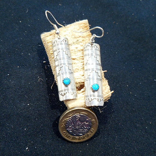 Contemporary earrings: turquoise & silver