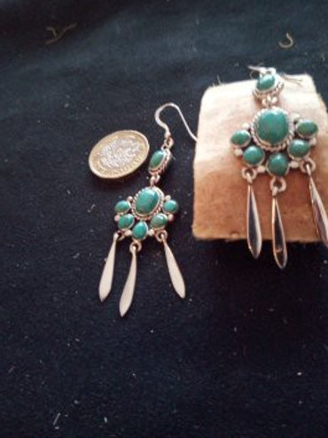 7 stone turquoise & silver earrings contemporary feather design